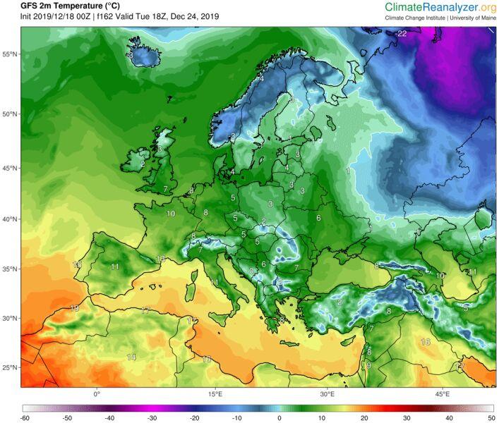 Temperatura w Wieczór Wigilijny według modelu GFS/University of Maine