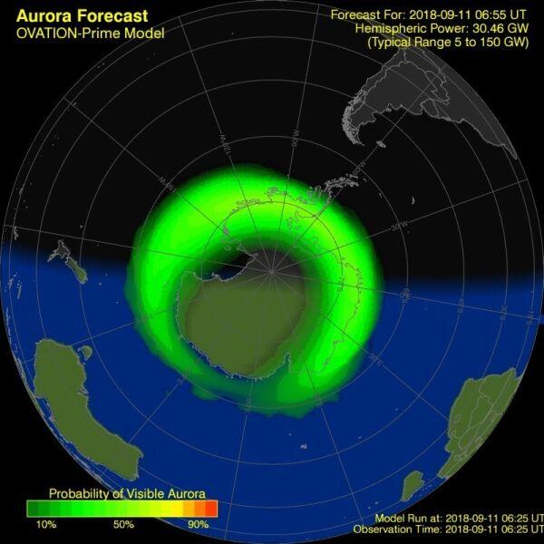 Prognoza wystąpienia zorzy polarnej dla półkuli południowej (NOAA)