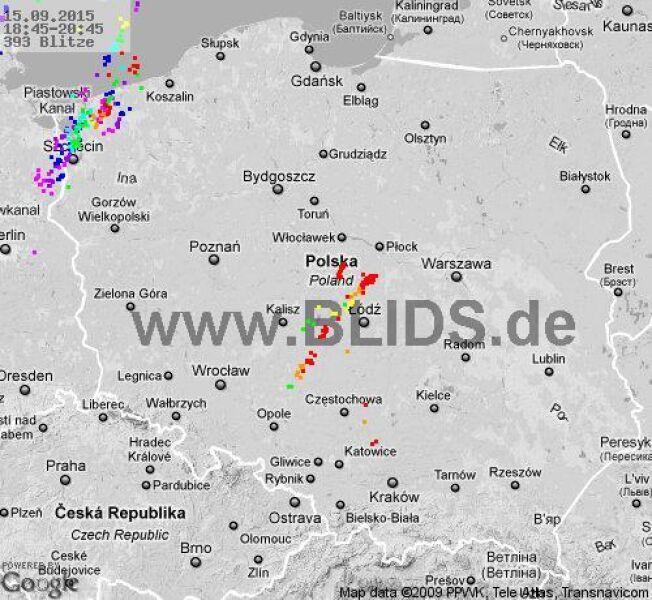 Burze w Polsce, godz. 18:45-20:45