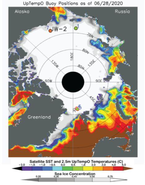 Średnia temperatura na północnym kole podbiegunowym 28 czerwca 2020 roku (nsidc.org)