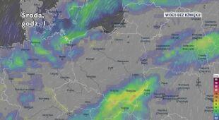 Prognozowane opady w ciągu kolejnych pięciu dni (Ventusky.com)