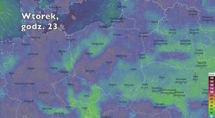 Porywy wiatru w kolejnych dniach (Ventusky.com | wideo bez dźwięku)
